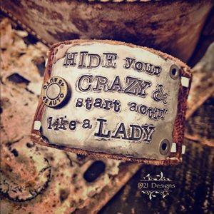 Leather belt buckle bracelet